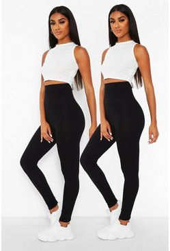 2 Pack Core Highwaist Basic Jersey Leggings, Black