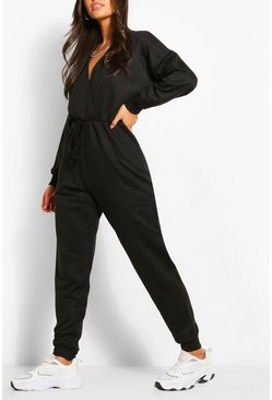 Black Wrap Over Loopback Sweat Jumpsuit
