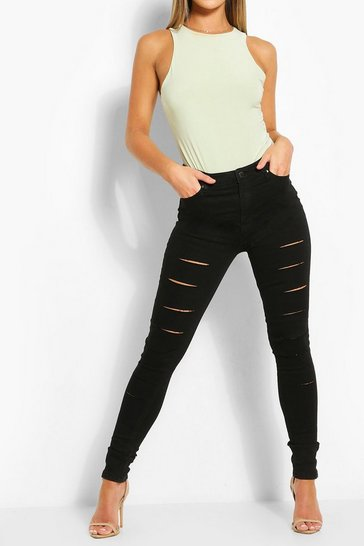 Black High Rise Ripped Front Stretch Skinny Jean
