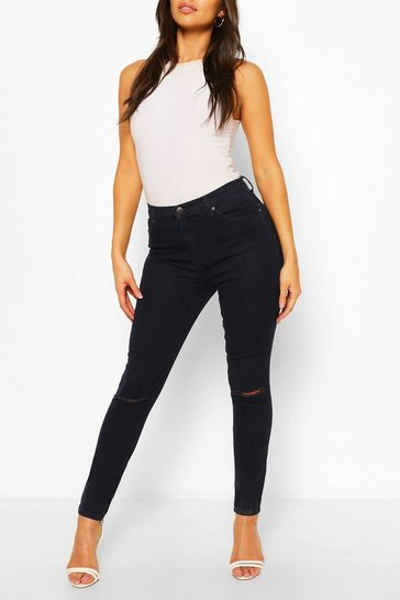 Indigo High Rise Ripped Knee Stretch Skinny Jean