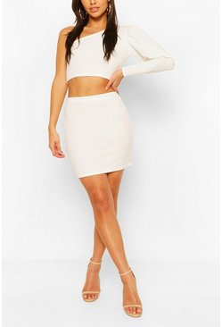 White Puff One Shoulder Top & Mini Skirt Co-ord Set