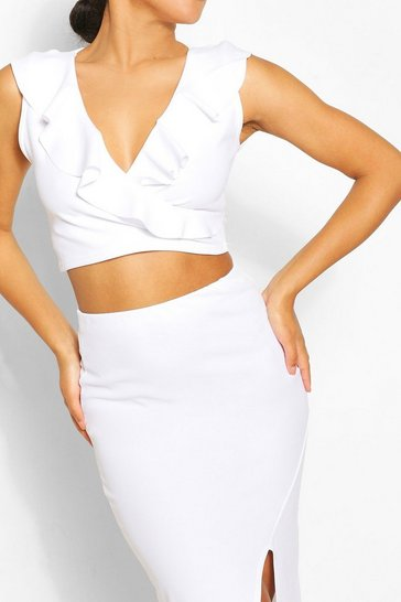 White Frill Wrap Top & Split Hem Skirt Co-ord Set