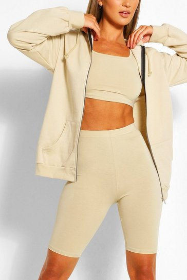 Sand Three Piece Cycling Short Crop Top Hoodie Set