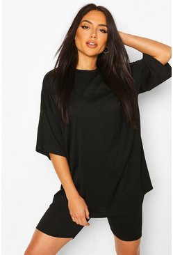 Ribbed Oversize T-Shirt and Short Set , Black