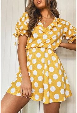 Mustard Polka Dot Tie Sleeve Detail Tea Dress