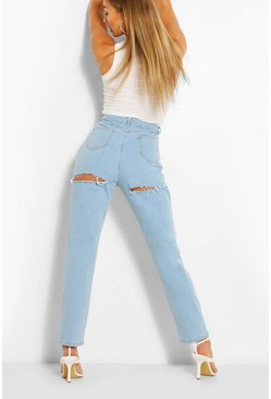 Light blue Slitna jeans med hög midja