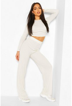 Ecru Seam Rib Top & Wide Leg Trouser Co-ord Set