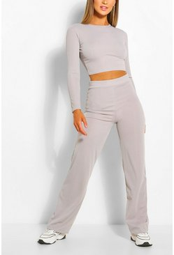 Grey Seam Rib Top & Wide Leg Pants Two-Piece Set