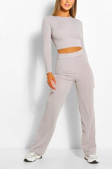 Grey Seam Rib Top & Wide Leg Trouser Co-ord Set
