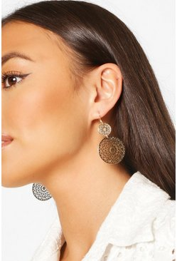 Filigree Disk Earrings , Gold