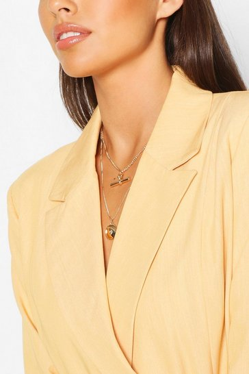 Gold T-Bar & Chain Layered Necklace
