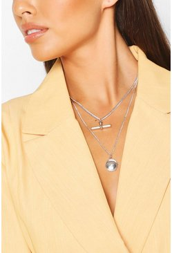 Silver T-Bar & Chain Layered Necklace