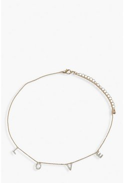 LOVE Diamante Choker, Gold