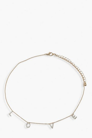 Gold LOVE Diamante Choker