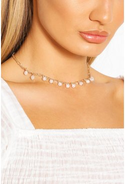 Pearl Detail Chain Choker Necklace, Gold