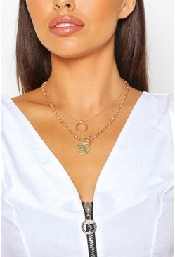 T Bar Coin & Horn Layered Necklace, Gold