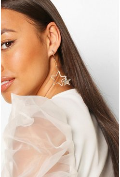 Cut Out Star Drop Earrings, Gold
