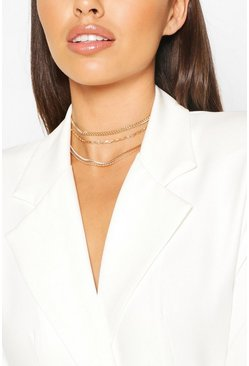 Gold Chain Detail Stacking Choker 4 Pack