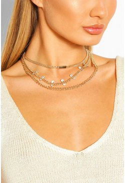 Chain & Diamante Layered Statement Necklace, Gold
