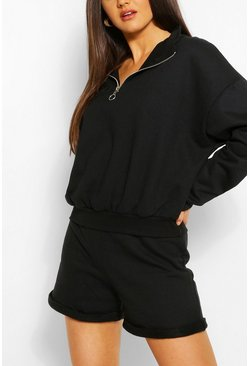 Black Zip Thru Sweat And Short