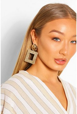 Gold Hammered Square Door Knocker Earrings