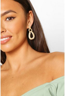 Gold Tear Drop Textured Statement Earrings