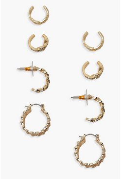 Gold Chain Detail Hoop & Cuff 4 Pack