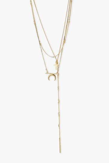 Gold Cross And Horn Diamante Layered Necklace