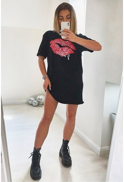 Black J'adore Lips T-shirt Dress