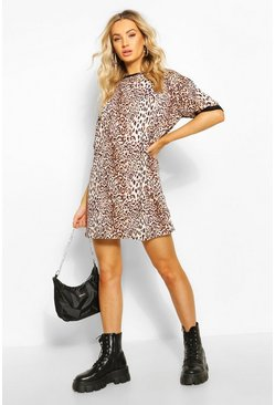 Leopard Ringer T-Shirt Dress, Brown
