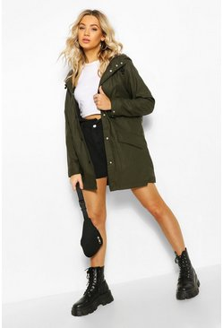 Khaki Hooded Coated Festival Mac