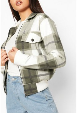 Khaki Check Bomber Jacket