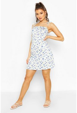 Floral Strappy Mini Dress, Blue