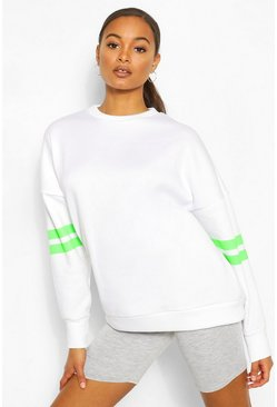 Neon-green Stripe Detail Oversized Sweat