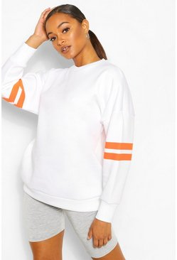 Neon-orange Stripe Detail Oversized Sweat