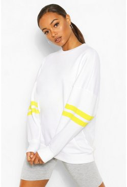 Neon-yellow Stripe Detail Oversized Sweat