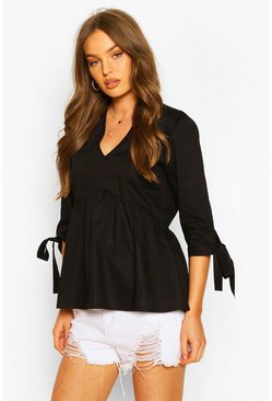 Black Woven V Neck Tie Sleeve Smock Top
