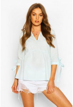 Pale blue Woven V Neck Tie Sleeve Smock Top