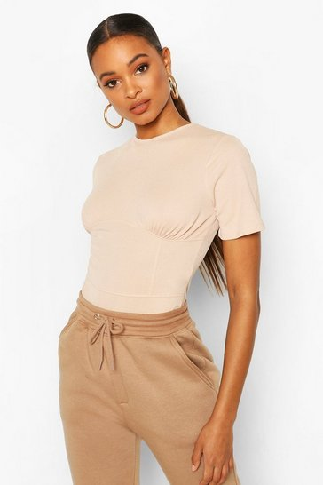 Stone Corset Detail Band Neck Bodysuit