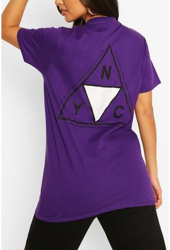 Purple NYC Back Print T-Shirt