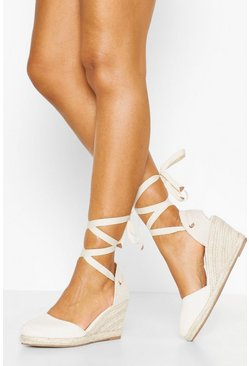 Cream Canvas Round Toe Espadrille Wedges