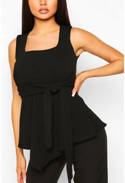 Black Crepe Square Neck Asymmetric Belted Top