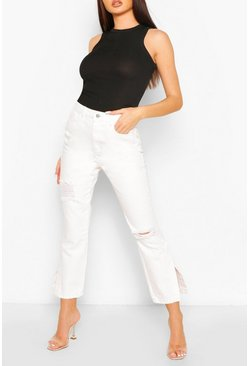 Ecru High Rise Distressed Split Hem Jean