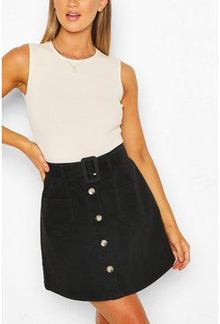Black Belted Denim Skater Skirt