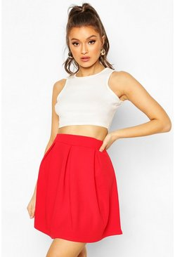 Red Crepe Box Pleat Skater Skirt
