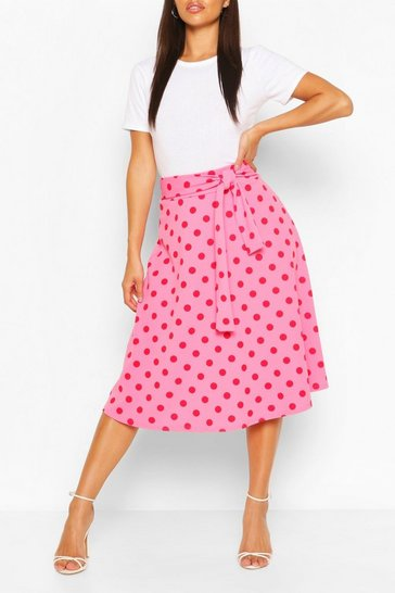 Pink Belted Polka Dot Skater Skirt