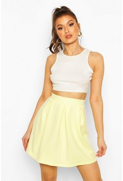 Lemon Crepe Box Pleat Skater Skirt
