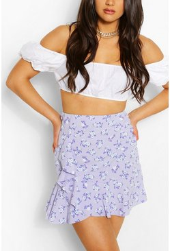 Floral Wrap Front Ruffle Mini Skirt, Lilac
