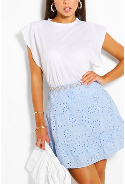 Baby blue Tiered Broderie Skater Skirt