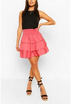 Shirred Waist Cotton Poplin Ruffle Mini , Rose